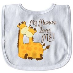 Inktastic My Memaw Loves Me! Baby Bib Grandma Me Giraffe Gift Loved By Greatest Grandmas House Spoils Grandkids Clothing Infant, White