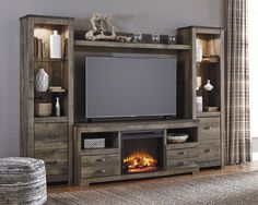 Trinell Large Entertainment Center Wall Unit – TV Stand 63″ with Bridge and 2 Bookcase Piers