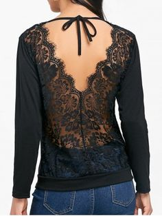 Open Back Sheer Lace Insert T-shirt