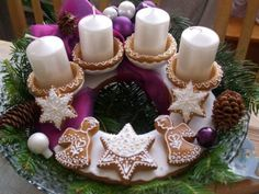 Adventný veniec, Autor: lenbea Wooden Christmas Trees, Christmas Treats, Advent, Wreaths, Table Decorations, Holiday Decor, Home Decor, Author, Xmas