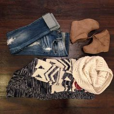 Jeans!!! Sweater, boots &'scarf tlove it all