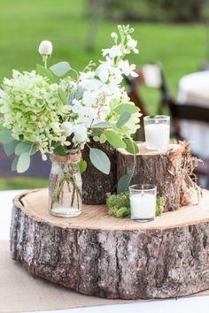 Rustic Farm Wedding Tree Trunk Centerpieces Candles Moss Flowers #FarmWeddingIdeas