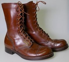 bfaebd70f370 Details about M1948 US Army Captoe Russet Leather Combat Boots