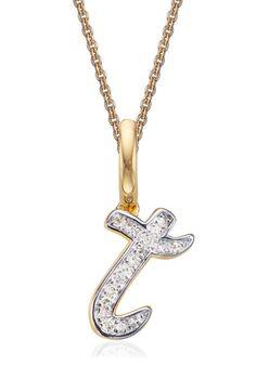 Monica Vinader Alphabet Diamond PavÉ Pendant In Gold/ Diamond- T 14 Karat Gold, 18k Gold, Alphabet, Gold Necklace, Pendant Necklace, Initial Pendant, Initials, Rose Gold, Pendants