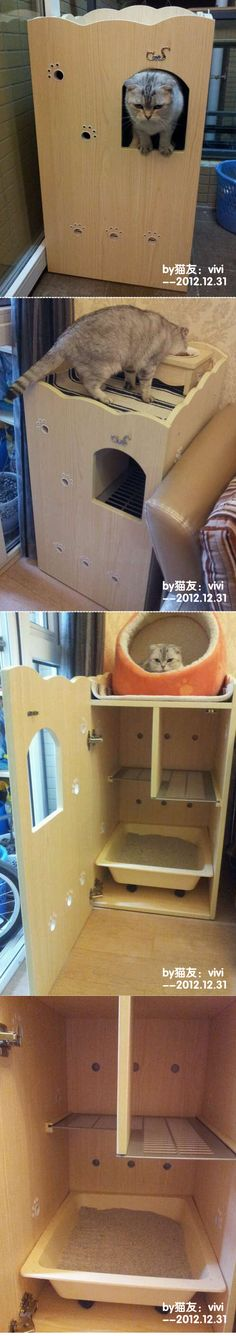 Cat Litter Box_Cat Litter Box & its tree_幸福的猫生活-CatS