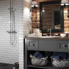 Cabin bathrooms, wooden bathroom и bathroom. Wooden Bathroom, Bathroom Renos, Grey Bathrooms, Basement Bathroom, Bathroom Flooring, Master Bathroom, Bathroom Ideas, Bathroom Small, Bathroom Modern