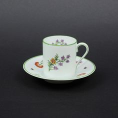 Tiffany Garden Demitasse and Saucer, GDA Limoges France for Tiffany and Co., Vintage Fine Porcelain Espresso Cup by LiliesLegacies on Etsy