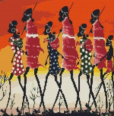 African Art Full Counted Cross Stitch Kit x Masaai Warriors Colourful Counted Cross Stitch Kits, Cross Stitch Charts, Cross Stitch Patterns, African Colors, African Art, Renoir Paintings, Tapestry Crochet, Cross Stitching, Crossstitch