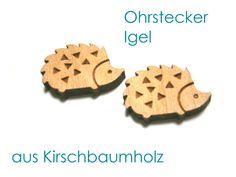 Holzohrstecker - Ohrstecker Igel - ein Designerstück von SchmuckNatur bei DaWanda