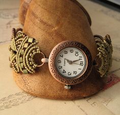 Copper and Khaki Beaded Macrame Watch by KnotJustMacrame on Etsy