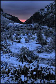 First light and snow, Rambla De Oria, Almeria, Spain.