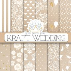 "Kraft digital paper: ""KRAFT WEDDING"" with kraft scrapbook paper, wedding background, wedding patterns for scrapbooking, cards #wedding #planner #white #damask #shabbychic #romantic #digitalpaper #scrapbookpaper"