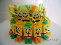 spongebob parties | Spongebob Lolly Stand surrounded by cute Spongebob Candy Boxes :)