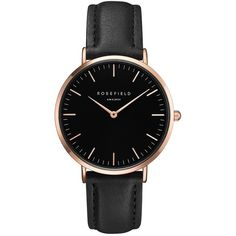 Women's Rosefield Bowery Leather Strap Watch, 38Mm (€82) ❤ liked on Polyvore featuring jewelry, watches, round watches, rosefield watches, polish jewelry, leather-strap watches and leather band watches