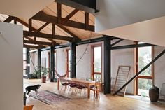 Kingswood Loft was designed by New Zealand studio Max Capocaccia Architecture for a young family with children. The original building on . Home Design, Room Interior Design, Interior Exterior, Design Ideas, Residential Architecture, Interior Architecture, Le Hangar, Indoor Barn Doors, Structural Insulated Panels