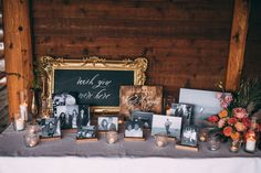 """Celeena and Austin's """"whimsical, enchanted, powerful"""" wedding at Fraser River Lodge. Lodge Wedding, Our Wedding Day, Wedding Table, Fall Wedding, Christmas Wedding, Dream Wedding, Wedding Memorial Table, Picture Table, Memory Table"""