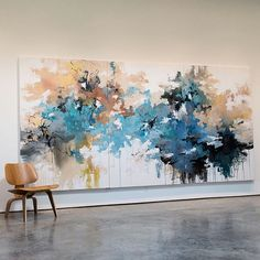"""Autumn by the Pool"" 72x144 #abstractlandscape #landscapepainting #painting #blue #color #art #artist #artiststudio #abstractart #abstractexpressionism #abstract #contemporaryart #contemporarylandscape #modernart #interiordesign #interiors #carlosramirez"