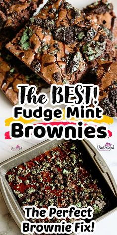 Fudgy, Mint Oreo brownies from Pint-sized Treasures are super simple and incredibly chewy! It's a fudgy chocolate dessert with a secret brownie baking tip included! This brownie recipe is perfect for your fudge brownie fix! Chocolate Fudge Brownies, No Bake Brownies, Chocolate Desserts, Mint Oreo, Tasty, Yummy Food, Baking Tips, Food Pictures, The Best