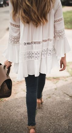 #summer #outfits / crochet boho top