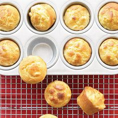 Mini Cornbread Puddings -  These are called cornbread puddings — not muffins — because they're far moister and more tender than you might expect, thanks to sour cream in the batter.