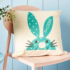 Personalised 'Rabbit' Cushion. So Bright and jolly and sure to make you smile, these are personalised with a name printed along the ear of the Bunny.