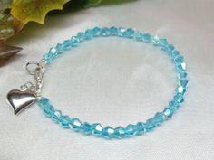 Girls Sterling BraceletAquamarine Bracelet by PearlsGemsnCrystals, $13.95