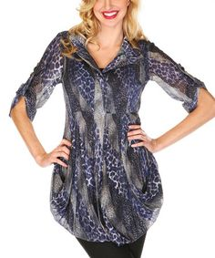 Another great find on #zulily! Blue Sheer Abstract Animal Button-Up Tunic by Lindi #zulilyfinds