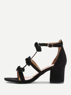43f0692e148c Shop Bow Tie Block Heeled Sandals online. SheIn offers Bow Tie Block Heeled  Sandals