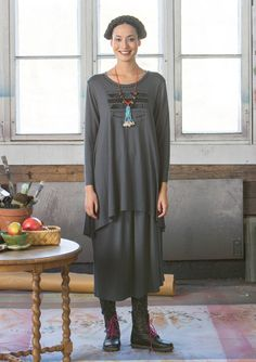 """Carla"" tunic in lyocell/elastane A flared style with a wonderful loose fit and…"