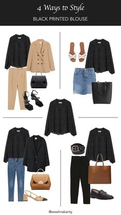4 Ways to Style – Black Printed Blouse Capsule Wardrobe, Capsule Outfits, Mode Outfits, Winter Outfits, Summer Outfits, Fashion Outfits, Outfit Jeans, Power Dressing, 90s Grunge