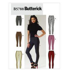 9e6fed65e871df Stretch Knit Side Panel Leggings Butterick Sewing Pattern Plus Size 18 20  22 24