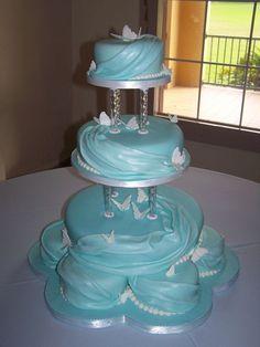 Sweet 16 Sky Blue Butterflies Cake