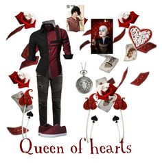 """Queen of hearts (male)"" by dark-shadow5 ❤ liked on Polyvore featuring Balmain, Lakai, Disney, Burton, halloweencostume and DIYHalloween"