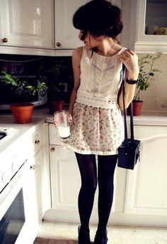 Camden Market Skirt, Topshop Top, H Bag, Tesco Milk