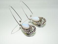 Boucle d'oreilles Laiton platine Pendentif goutte métal argenté vieilli support cabochon pierre semi-précieuse d'Opale : Boucles d'oreille par madely