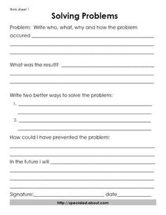 3 Think Sheets for Students Who Break the Rules: A Think Sheet for Problem Solving