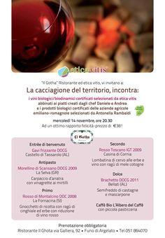 Vi anticipiamo la cena organizzata per gli appassionati di cacciagione del 14 Novembre prossimo. I vini toscani non potevano mancare! Vi aspettiamo