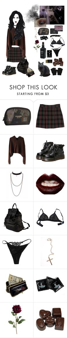 """Scorpio"" by ghoul-babe ❤ liked on Polyvore featuring Chanel, MANGO, NARS Cosmetics, WithChic, Manic Panic NYC, Corsia, Eres, The Little Bra Company, Pamela Love and AmeriLeather"