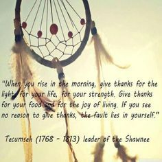 When you rise in the morning give thanks for the Light, for your Life, for your Strength. Give thanks for your food, for the Joy of living. If you see no reason to give thanks the fault lies in yourself. - Tecumseh, Leader of the Shawn Native American Prayers, Native American Spirituality, Native American Wisdom, American Indians, American Symbols, American Indian Quotes, American History, American Art, American Women