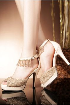 Leather Stiletto Heel D'Orsay&Two-Piece Gold Party&Evening Pumps/heels with Beading CS0014004 - PartyEssentials - Accessories #cocomelody