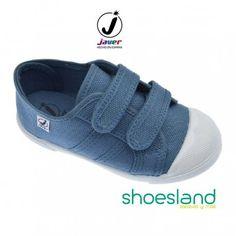 Zapatillas de lona para niños en color azul Jeans con puntera reforzada blanca fáciles de calzar y atar con dos velcros de Javer  Del 30 al 35