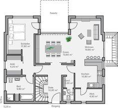 Grundriss einfamilienhaus modern bungalow  Häuser- Beeindruckende Linienführung: Bauhaus Linea | Häusl ...