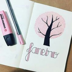 Bullet journal monthly cover page, January cover page, tree drawing, tree with heart leaves drawing. Bullet Journal Planner, Bullet Journal Titles, Bullet Journal Month, Bullet Journal School, Bullet Journal Tracker, Bullet Journal Inspiration, Lettering Brush, Bullet Art, Leaf Drawing