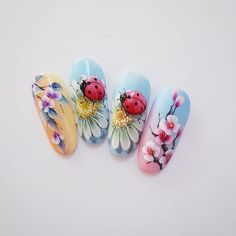 99 Charming Summer Floral Nail Art Ideas To Copy Now Nail Ink, Nail Manicure, My Nails, Matte Nails, Stiletto Nails, Floral Nail Art, 3d Nail Art, Acrylic Nail Art, Arte Floral