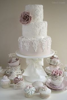 Beautiful lace wedding cake by Cotton and Crumbs