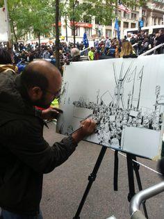 Joshua Boulet illustrating occupy