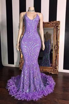 Spaghetti V-neck Sequins Floor Length Fur Train Mermaid Prom Dresses Black Girl Prom Dresses, Cute Prom Dresses, Prom Outfits, Mermaid Prom Dresses, Girls Dresses, Formal Dresses, Wedding Dresses, Sequin Prom Dresses, Rave Outfits