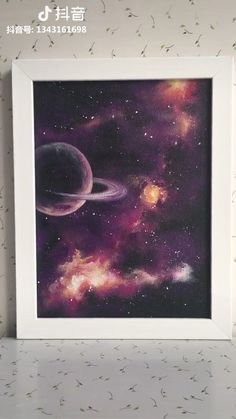 Small Canvas Paintings, Easy Canvas Art, Small Canvas Art, Mini Canvas Art, Easy Paintings, Galaxy Painting Acrylic, Purple Painting, Moon Painting, Planet Painting