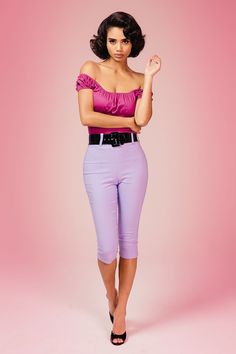 Sleek Retro Style Capri Pants with WIde Patent Belt in Lavender   Pinup Girl Clothing