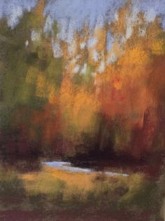 A new season is upon us as I look across the lake. The sun is still bright and I'm seeing multi-colored hues of gold, amber and plum. This is a pastel study I did keeping it very loose and minimal.  www.danniellemick.com